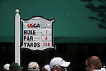 A board,<br /> June 15, 2013 - Golf :<br /> General view of a board on 1st hole during the third round of the U.S. Open Championship at the Merion Golf Club, East course in Haverford Township, Delaware Country, Pennsylvania. (Photo by Koji Aoki/AFLO SPORT) [0008]