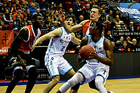 GRONINGEN - Basketbal, Donar - Feyenoord, Eredivisie, seizoen 2019-2020, 10-11-2019, /Donar speler Donte Thomas ziekt de basket