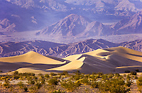 Sand dunes and schrup in Death Valley, California, USA