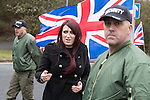 © Joel Goodman - 07973 332324 . 25/02/2017. Telford, UK. Britain First deputy leader Jayda Fransen at a demonstration in Telford , opposed by anti-fascist groups . Britain First say they are highlighting concerns about child sexual exploitation in the town . Photo credit : Joel Goodman