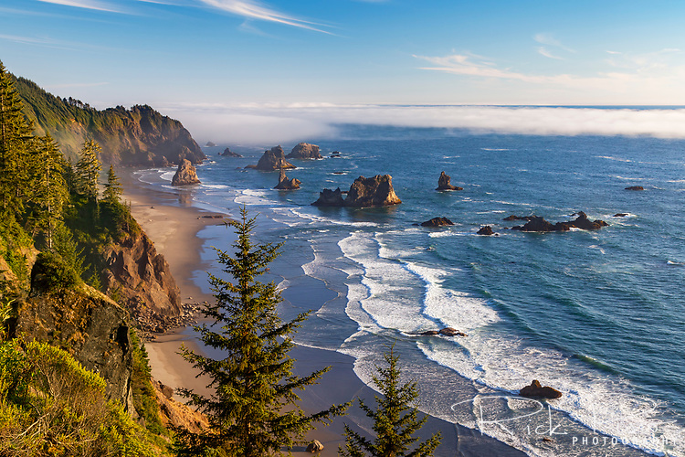 Sea stacks, fog, and surf along the Southern Oregon Coast at Samuel H. Boardman State Park