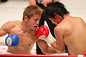 (L to R) Hiroto Fukuhara, Shuhei Tsuchiya, AUGUST 10, 2011 - Boxing :Shuhei Tsuchiya in action against Hiroto Fukuhara during the light weight bout at Korakuen Hall, Tokyo, Japan. Shuhei Tsuchiya won by TKO after the fight was stopped in the ninth round. (Photo by Yusuke Nakanishi/AFLO) [1090]