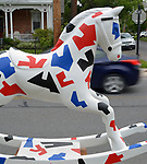 "A view of ""American Rocker #1"" created by artist, Edward Berkise, one of the ""Rockin' Around Saugerties"" theme Statues on display throughout the Village of Saugerties, NY, on Sunday, June 4, 2017. Photo by Jim Peppler. Copyright/Jim Peppler-2017."