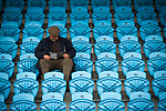 Guernsey 0 Corinthian-Casuals 1, 10/09/2017. Footes Lane, Isthmian League Division One. A solitary away fan reading the programme pre-match as Guernsey take on Corinthian-Casuals in a Isthmian League Division One South match at Footes Lane. Formed in 2011, Guernsey FC are a community club located in St. Peter Port on the island of Guernsey and were promoted to the Isthmian League Division One South in 2013. The visitors from Kingston upon Thames won the fixture by 1-0, watched by a crowd of 614 spectators. Photo by Colin McPherson.