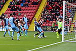 Chris Basham of Sheffield United scoring his teams first goal of the game during the Emirates FA Cup Round One match at Bramall Lane Stadium, Sheffield. Picture date: November 6th, 2016. Pic Simon Bellis/Sportimage