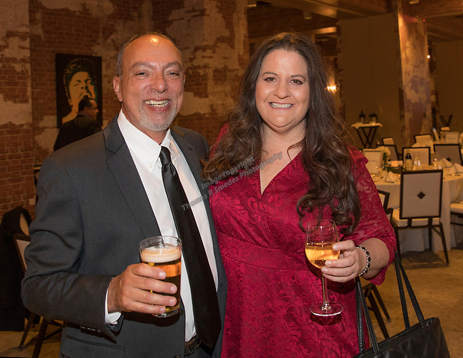 George Jostlin and Lisa Cook during the Step 2 Jingle & Mingle held at the Whitney Peak Hotel on Friday night, December 1, 2017.