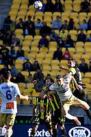 Newcastle Jets' Jason Hoffman and Wellington Phoenix' Thomas Doyle in action during the A League - Wellington Phoenix v Newcastle Jets at Westpac Stadium, Wellington, New Zealand on Sunday 21 October  2018. <br /> Photo by Masanori Udagawa. <br /> www.photowellington.photoshelter.com
