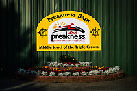 BALTIMORE, MD - MAY 18: Sign hangs on a Preakness Barn in preparation for the Preakness Stakes at Pimlico Race Course on May 18, 2017 in Baltimore, Maryland.(Photo by Douglas DeFelice/Eclipse Sportswire/Getty Images)