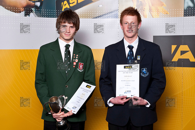 'Boys Swimming finalistsBen Stark & Jordan Quintal. ASB College Sport Auckland Secondary School Young Sports Person of the Year Awards held at Eden Park on Thursday 12th of September 2009.