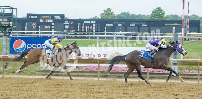 Speeding Strike winning at Delaware Park on 7/14/12