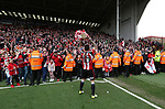 Sheffield United's Billy Sharp celebrates with the fans during the League One match at Bramall Lane, Sheffield. Picture date: April 30th, 2017. Pic David Klein/Sportimage