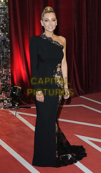 Gemma Merna.attended the British Soap Awards 2013, Media City, Salford, Manchester, England, UK, 18th May 2013..arrivals full length black lace see thru through sheer dress one sleeve shoulder .CAP/CAN.©Can Nguyen/Capital Pictures.
