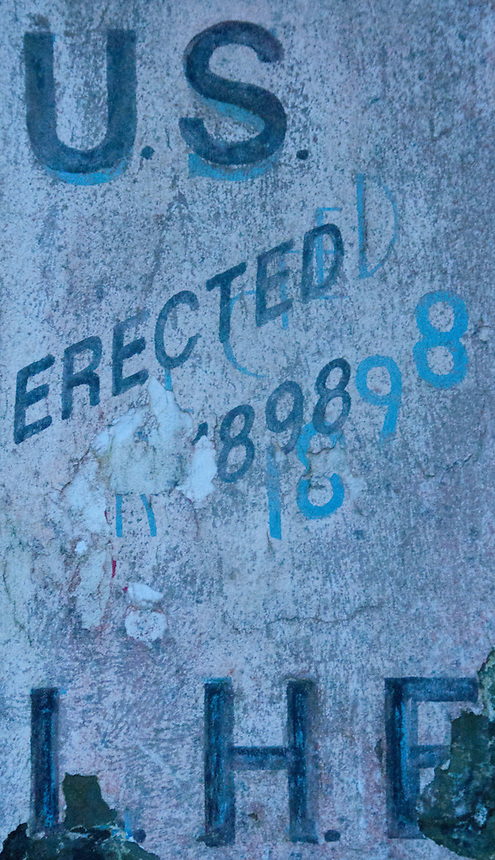 """""""Erected 1898"""" Inscription on North Head Lighthouse, Cape Disappointment State Park, Ilwaco, Washington, US"""