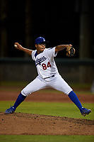 AZL Dodgers Lasorda relief pitcher Juan Gonzalez (84) during an Arizona League game against the AZL Athletics Green at Camelback Ranch on June 19, 2019 in Glendale, Arizona. AZL Dodgers Lasorda defeated AZL Athletics Green 9-5. (Zachary Lucy/Four Seam Images)