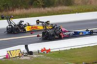 Mar 17, 2019; Gainesville, FL, USA; NHRA top fuel driver Leah Pritchett (near) alongside Richie Crampton during the Gatornationals at Gainesville Raceway. Mandatory Credit: Mark J. Rebilas-USA TODAY Sports