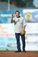 "Actor Dwier Brown, who played John Kinsella in the Movie ""Field of Dreams"", waves to the crowd as he prepares tp throw out a ceremonial first pitch prior to the game against the Danville Braves at Calfee Park on June 30, 2019 in Pulaski, Virginia. The Braves defeated the Yankees 8-5 in 10 innings.  (Brian Westerholt/Four Seam Images)"