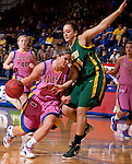 BROOKINGS, SD - FEBRUARY 18: South Dakota State's Steph Paluch #15 drives around North Dakota State defender Alisa Brown #31 during their game on Saturday afternoon at Frost Arena on the campus of South Dakota State in Brookings, SD. (Photo By Ty Carlson/Inertia)
