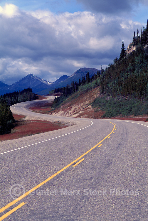 Alaska Highway winding through Cassiar Mountains and Boreal Forest, Yukon Territory, Canada