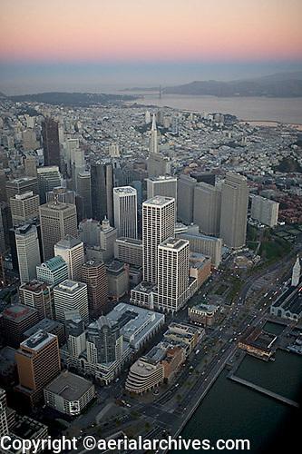aerial photograph north waterfront dawn San Francisco, California
