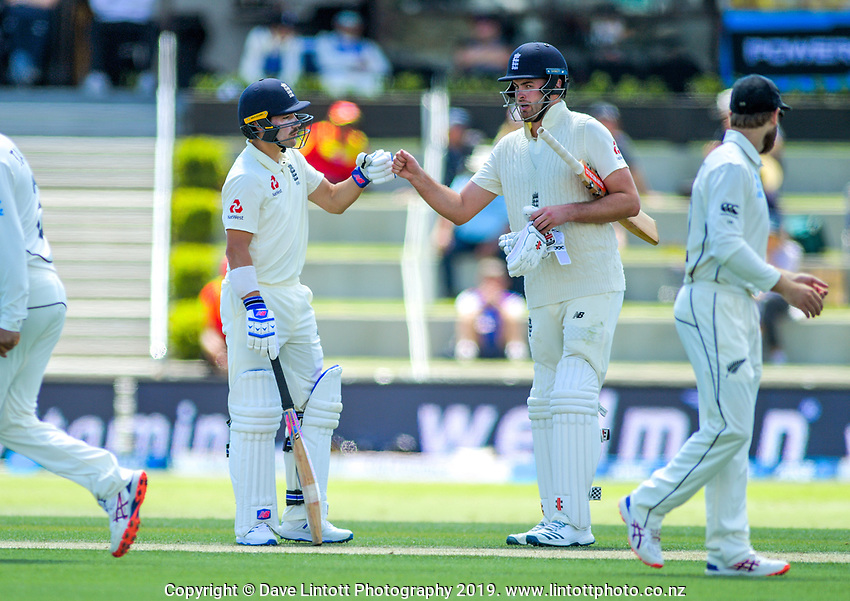 England openers Rory Burns and Dom Sibley during day one of the international cricket 1st test match between NZ Black Caps and England at Bay Oval in Mount Maunganui, New Zealand on Thursday, 21 November 2019. Photo: Dave Lintott / lintottphoto.co.nz