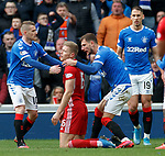 01.02.2020 Rangers v Aberdeen: Steven Davis, Borna Barisic and Nikola Katic have a wee chat with Sam Cosgrove