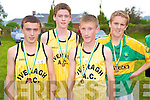 Cillian O'Donovan, Liam O'Connell, Briasn Sugrue and Andy Quigley, Iveragh AC, at the County uneven age intermediate and masters championship in Beaufort on Sunday.