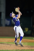 High Point Panthers relief pitcher Matt Hodges (25) settles under a pop fly during game two of a double-header against the NJIT Highlanders at Williard Stadium on February 18, 2017 in High Point, North Carolina.  The Highlanders defeated the Panthers 4-2.  (Brian Westerholt/Four Seam Images)