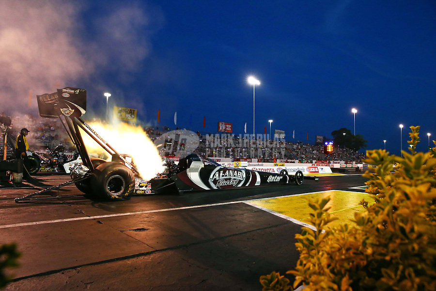 May 31, 2013; Englishtown, NJ, USA: NHRA top fuel dragster driver Shawn Langdon during qualifying for the Summer Nationals at Raceway Park. Mandatory Credit: Mark J. Rebilas-