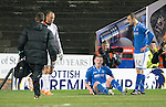 Dundee United v St Johnstone...12.03.14    SPFL<br /> Brian Easton goes down injured<br /> Picture by Graeme Hart.<br /> Copyright Perthshire Picture Agency<br /> Tel: 01738 623350  Mobile: 07990 594431