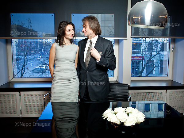 WARSAW, POLAND, FEBRUARY 2, 2012:.Jan Kulczyk, Polish businessman and the richest man in Poland according to Forbes magazine, posing with his daughter Dominika Kulczyk Lubomirska at Kulczyk Investments office in Warsaw..(Photo by Piotr Malecki / Forbes / Napo Images)..Jan Kulczyk , biznesmen, z corka Dominika Kulczyk Lubomirska..Warszawa, Biuro Kulczyk Investements, 02/02/2012.Fot: Piotr Malecki / Forbes / Napo Images