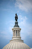 Very high resolution stock photo of the Statue of Freedom at the top of the dome of the United States Capitol looking towards the East Front in Washington, DC on Friday, May 11, 2018.<br /> Credit: Ron Sachs / CNP