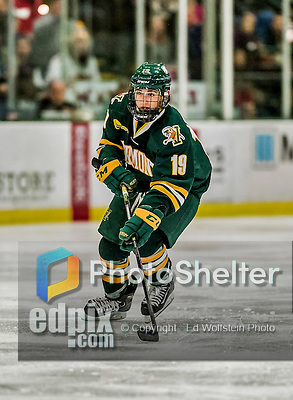 17 October 2015:  University of Vermont Catamount Forward Jarrid Privitera, a Sophomore from Old Tappan, NJ, in second period action against the University of Nebraska Omaha Mavericks at Gutterson Fieldhouse in Burlington, Vermont. The Catamounts fell to the Mavericks 3-1. Mandatory Credit: Ed Wolfstein Photo *** RAW (NEF) Image File Available ***