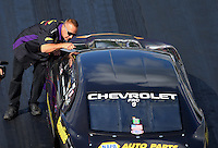 Jun 17, 2016; Bristol, TN, USA; John Nobile , crew member and father of NHRA pro stock driver Vincent Nobile during qualifying for the Thunder Valley Nationals at Bristol Dragway. Mandatory Credit: Mark J. Rebilas-USA TODAY Sports