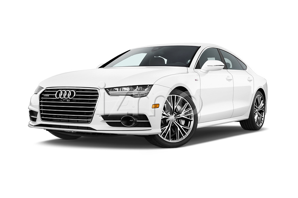 Stock pictures of low aggressive front three quarter view of 2016 Audi A7 3.0 TDI Premium Plus  4 Door Hatchback