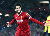 17th March 2018, Anfield, Liverpool, England; EPL Premier League football, Liverpool versus Watford;  Mohammed Salah of Liverpool celebrates in front of the Kop after completing his hat trick