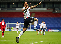 Bolton Wanderers' Josh Magennis celebrates scoring his side's fifth goal and completing his hat-trick<br /> <br /> Photographer Andrew Kearns/CameraSport<br /> <br /> Emirates FA Cup Third Round - Bolton Wanderers v Walsall - Saturday 5th January 2019 - University of Bolton Stadium - Bolton<br />  <br /> World Copyright &copy; 2019 CameraSport. All rights reserved. 43 Linden Ave. Countesthorpe. Leicester. England. LE8 5PG - Tel: +44 (0) 116 277 4147 - admin@camerasport.com - www.camerasport.com