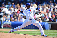 Chicago Cubs pitcher Edwin Jackson (36) delivers a pitch during a game against the Milwaukee Brewers on August 14, 2014 at Wrigley Field in Chicago, Illinois.  Milwaukee defeated Chicago 6-2.  (Mike Janes/Four Seam Images)