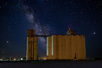 The Milky Way over a Grain Elevator in Western Oklahoma.