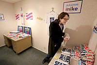 Leslie Hunt looks for the correct size shirt Monday, February, 10, 2020, at the field office for Presidential candidate Michael Bloomberg located at 109 N. Block Avenue in Fayetteville. The opening of the office was part of a three city tour that included Fort Smith and Little Rock. Check out nwaonline.com/200211Daily/ and nwadg.com/photos for a photo gallery.<br /> (NWA Democrat-Gazette/David Gottschalk)