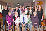 BABY JOY: Proud parents Hazel and Michael Prendergast, Ballyseedy of little Racheal who was Christened in Kiltallagh Church, Castlemaine and celebrated afterwards with family and friends at O'Riada's restaurant and bar, Ballymac on Sunday seated l-r: Bridie, Hazel, Racheal, Michael (snr) and Michael (jnr) Prendergast and Kathleen Boyle. Back l-r: John Delaney, Kathleen Dillane, Patrick Dillane, David O'Neill, Katie O'Neill, Charlie O'Neill, Irene O'Reilly, Mabel Flynn and Martha Flynn.