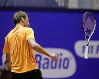 11-12-09, Rotterdam, Tennis, REAAL Tennis Masters 2009, Thiemo de Bakker smijt uit frustratie zijn racket weg