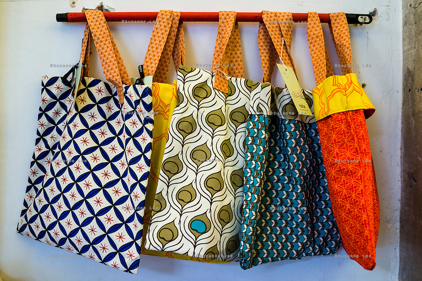Handprinted bags on display in Nala Designs in Bangsar, Kuala Lumpur, Malaysia, on 18 August 2015. Nala Designs, by founder and designer Lisette Scheers, is inspired by Malaysia's melting pot of Chinese, Malay and Indian cultures. Photo by Suzanne Lee for Monocle