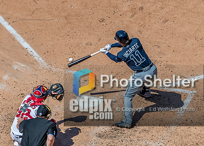9 July 2017: Atlanta Braves outfielder Ender Inciarte at bat against the Washington Nationals at Nationals Park in Washington, DC. The Nationals defeated the Braves to split their 4-game series. Mandatory Credit: Ed Wolfstein Photo *** RAW (NEF) Image File Available ***