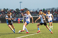 Allston, MA - Saturday, May 07, 2016: Chicago Red Stars defender Arin Gilliland (3), Boston Breakers midfielder Louise Schillgard (10), Chicago Red Stars midfielder Alyssa Mautz (4) and Boston Breakers midfielder Angela Salem (26) during a regular season National Women's Soccer League (NWSL) match at Jordan Field.