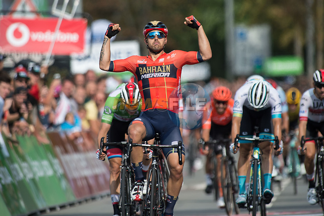 Sonny Colbrelli (ITA) Team Bahrain-Merida wins Stage 4 of the Deutschland Tour 2019, running 159.5km from Eisenach to Erfurt, Germany. 1st September 2019.<br /> Picture: Mario Stiehl | Cyclefile<br /> All photos usage must carry mandatory copyright credit (© Cyclefile | Mario Stiehl)