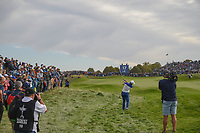 Sergio Garcia (Team Europe) hits his approach shot on 17 during Sunday's singles of the 2018 Ryder Cup, Le Golf National, Guyancourt, France. 9/30/2018.<br /> Picture: Golffile | Ken Murray<br /> <br /> <br /> All photo usage must carry mandatory copyright credit (© Golffile | Ken Murray)