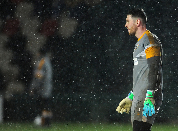 Newport County's Joe Day during the pre-match warm-up <br /> <br /> Photographer Ian Cook/CameraSport<br /> <br /> Emirates FA Cup Fourth Round Replay - Newport County v Middlesbrough - Tuesday 5th February 2019 - Rodney Parade - Newport<br />  <br /> World Copyright © 2019 CameraSport. All rights reserved. 43 Linden Ave. Countesthorpe. Leicester. England. LE8 5PG - Tel: +44 (0) 116 277 4147 - admin@camerasport.com - www.camerasport.com