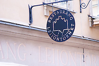 The sign for the gastronomic restaurant Leijontornet (The Tower of the Lion) in Gamla Stan the Old Town Stockholm, Sweden, Sverige, Europe