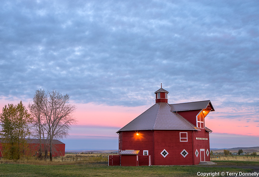 Wallowa County, OR: Octagonal barn of the Triple Creek Ranch at dawn