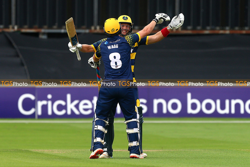 Graham Wagg and Craig Meschede celebrate victory for Glamorgan during Essex Eagles vs Glamorgan, NatWest T20 Blast Cricket at The Cloudfm County Ground on 16th July 2017